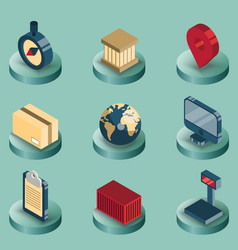 Logistics color isometric icons vector