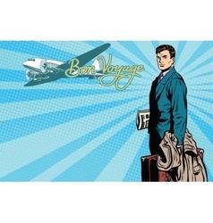 Male passenger traveler in the airport vector