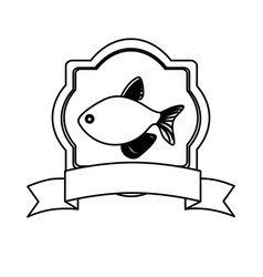 Monochrome line contour with emblem fish and vector