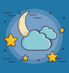moon stars and clouds icon vector image