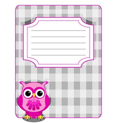 Owl gingham cover-pink and grey vector