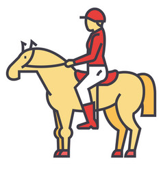 Racing horse rider horseman jockey race vector
