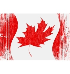 Red canadian flag on wood vector