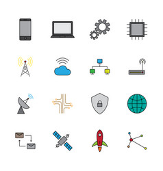 technology digital flat color icon set vector image