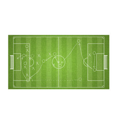 Top view football field drawing a soccer game vector