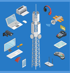 wireless technologies isometric 3d set vector image