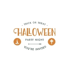Halloween party label template with hat and vector image