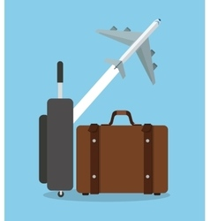 Suitcase and airplane design vector