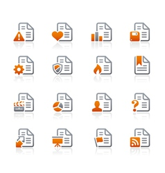 Documents icons 2 graphite series vector