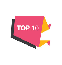 Top10 text in label pink yellow black vector
