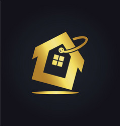 House icon sale business gold logo vector