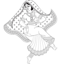 Sketch of dancing indian woman vector