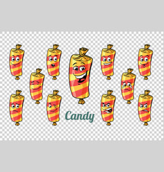 Confectionery sweet candy in the wrapper emotions vector
