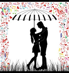 Couple piano kissing couple heart rain vector