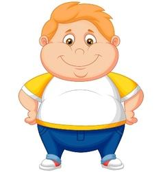 Fat boy cartoon posing vector image