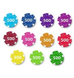 Eleven poker chips vector image