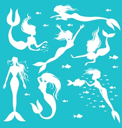 Mermaid set white vector