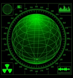 radar screen with digital glob vector image
