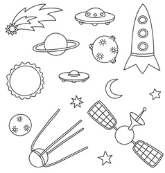Collection of spaceship planets and stars vector