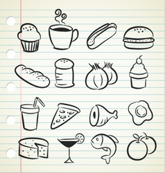 sketchy food icons vector image