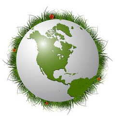 earth globe grass vector image