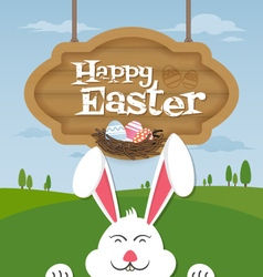 Happy easter and smiling bunny background vector