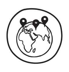 Doodle earth with pointers icon vector