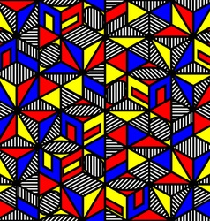 Bright colored cube geometric pattern in style of vector