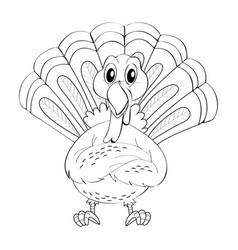 Animal doodle for wild turkey vector