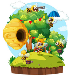 bees flying around beehive on island vector image vector image