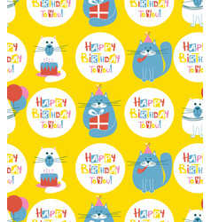birthday cats seamless pattern vector image vector image