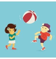 Boy and Girl Playing Ball vector image