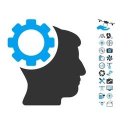 Brain gear icon with air drone tools bonus vector
