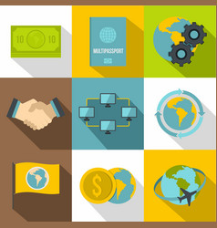 business travel icons set flat style vector image