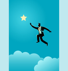 Businessman jumps to reach out for the star vector