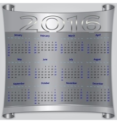Calendar for 2016 year silver metallic vector