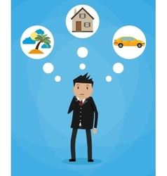 Cartoon businessman dreaming vector image vector image