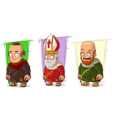 Cartoon old monk and priest characters set vector