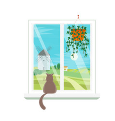 Cartoon windows windmill view vector