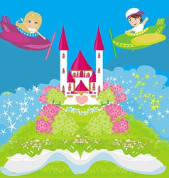 Cute boy and girl on a plane vector image vector image