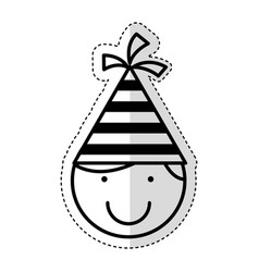 cute little boy with hat party character vector image