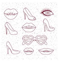 fashion women girls elements monochrome silhouette vector image