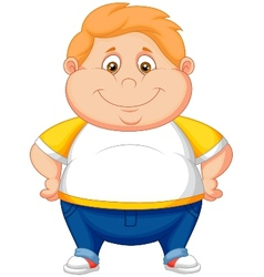 Fat boy cartoon posing vector