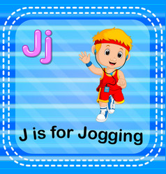 Flashcard letter j is for jogging vector