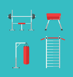 flat sports equipment icons for gym training vector image