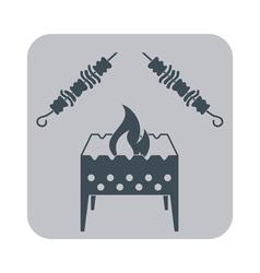 Grilled shashlik kebab icon vector