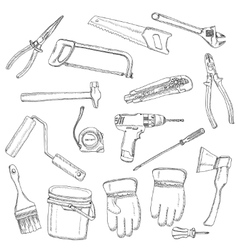 House renovation tools set black outline vector