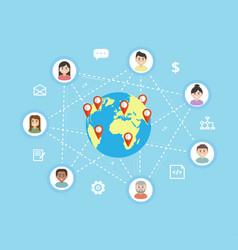 international teamwork - flat vector image