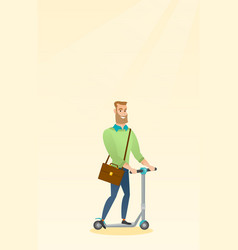 Man riding kick scooter vector