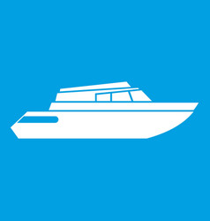 Planing powerboat icon white vector